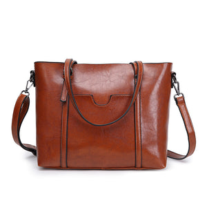 Genuine Leather Front Pocket Stitch Handbag