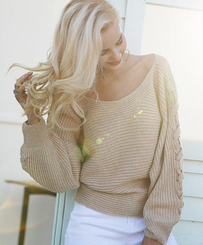 Knitted Off Shoulder Sweater with Braid detail