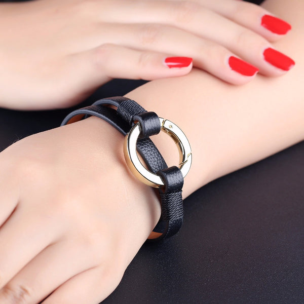 Leather Wrist Cuff with metal ring