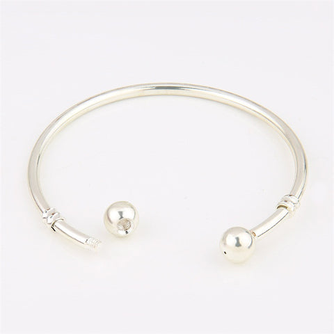 Silver Cuff Bracelet Double Ball Clasp
