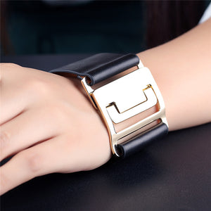 Leather Wrist cuff with gold clasp
