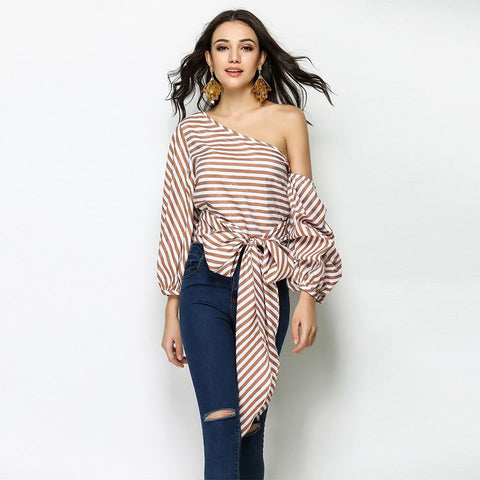 Striped One Sleeve Top with Front Tie