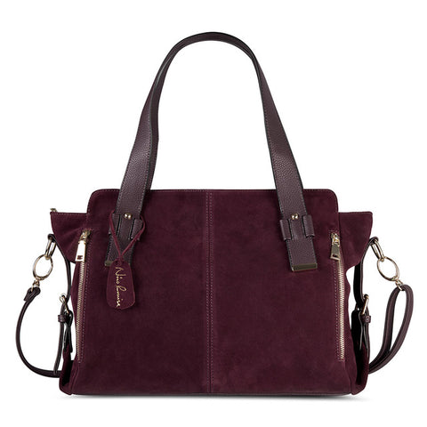 Suede Leather Split Boston Bag