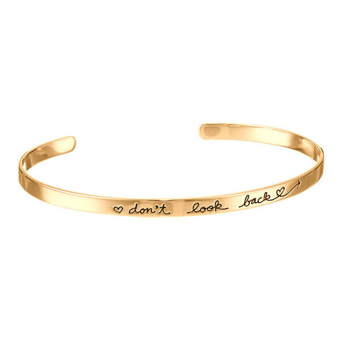 Stamped Brass Cuff - Dont look back