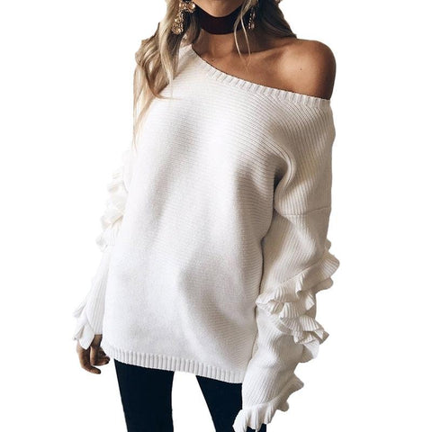 Ruffled flare sleeve knitted pullover