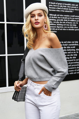 Casual Off Shoulder Crop Knitted Sweater