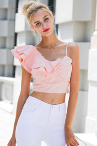 Single Shoulder Ruffle Crop Top