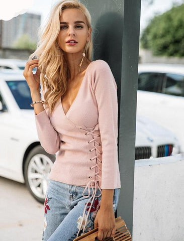 Causal Side lace up V-neck knitted sweater