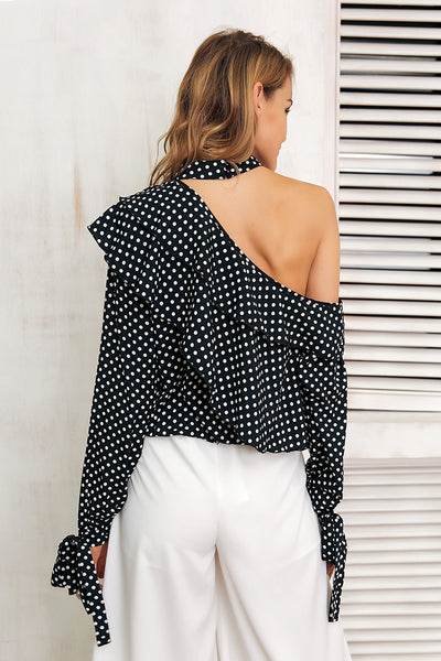 One Shoulder Ruffled Polka Dot Blouse