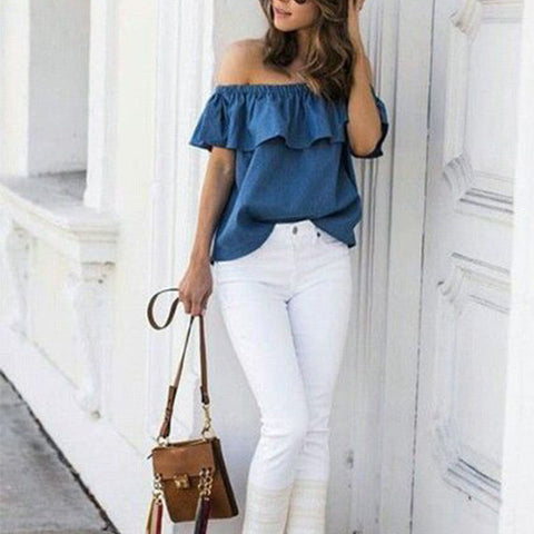 Denim Off Shoulder Ruffle Top