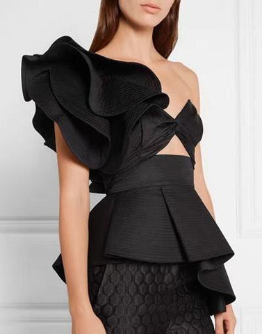 One Shoulder Cross Front Ruffle Top