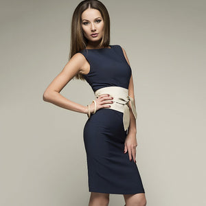 Sleeveless Pencil Dress with Obi Belt