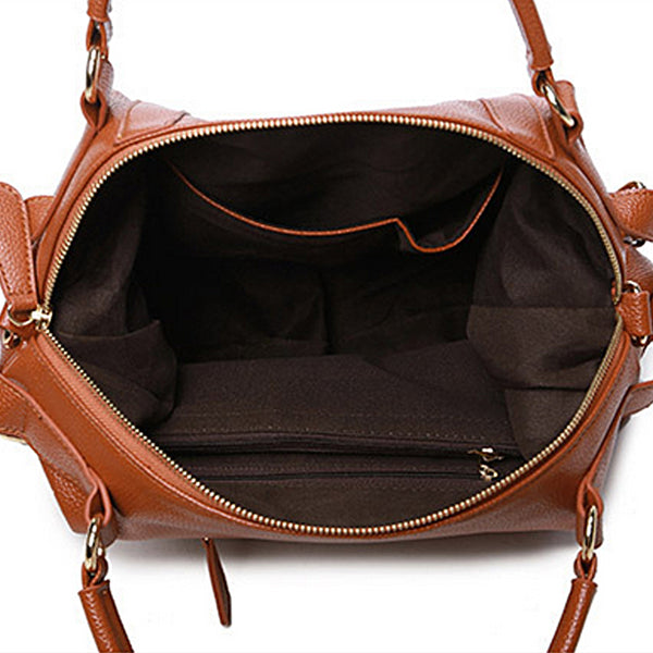 Leather Tote with Top Handle and Side Straps