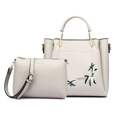 Floral Embroidered Top Handle Bag 2 Piece