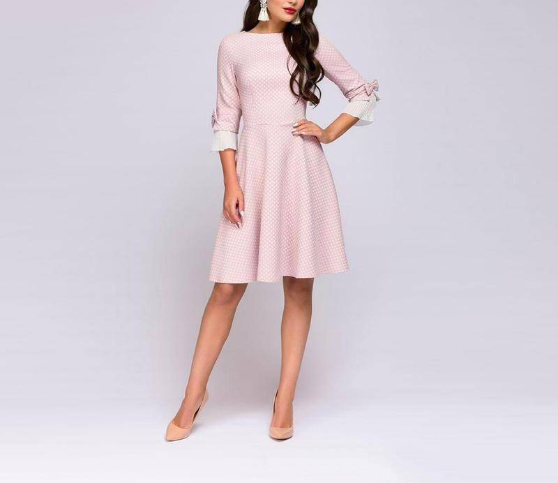 Pink Polka Dot Swing Dress with Chiffon Sleeve Detail