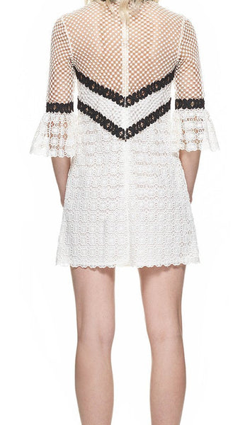 Black and White Lace Flare sleeve Dress