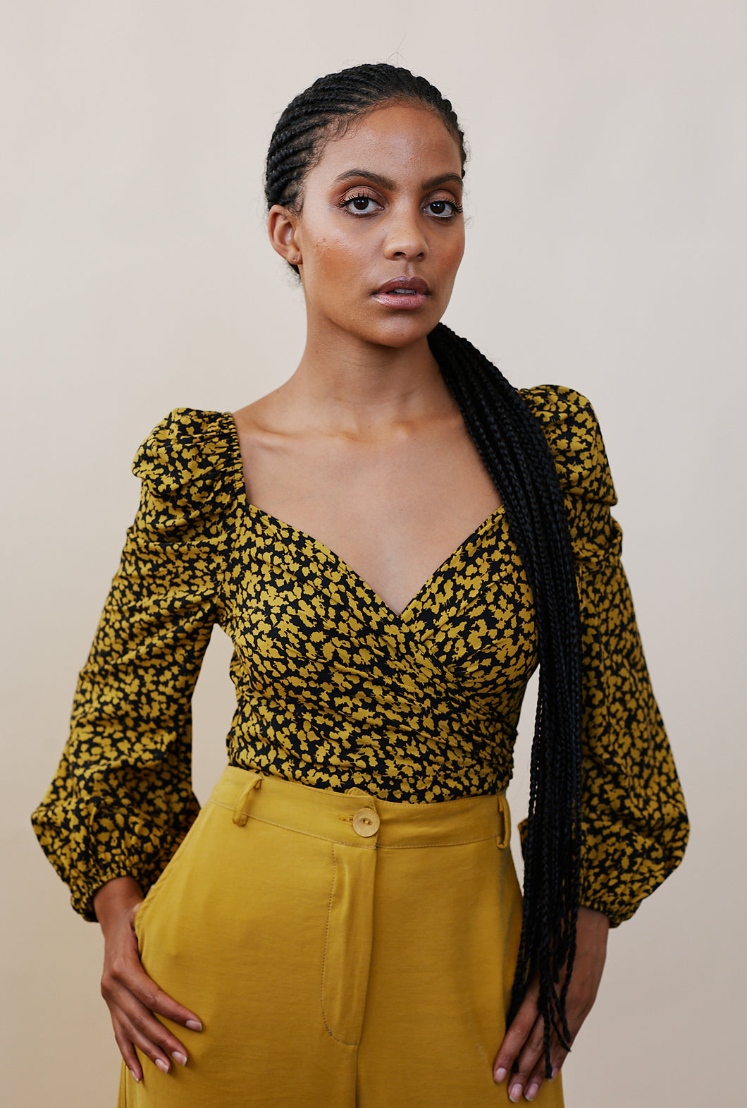 Mustard Wrap Blouse