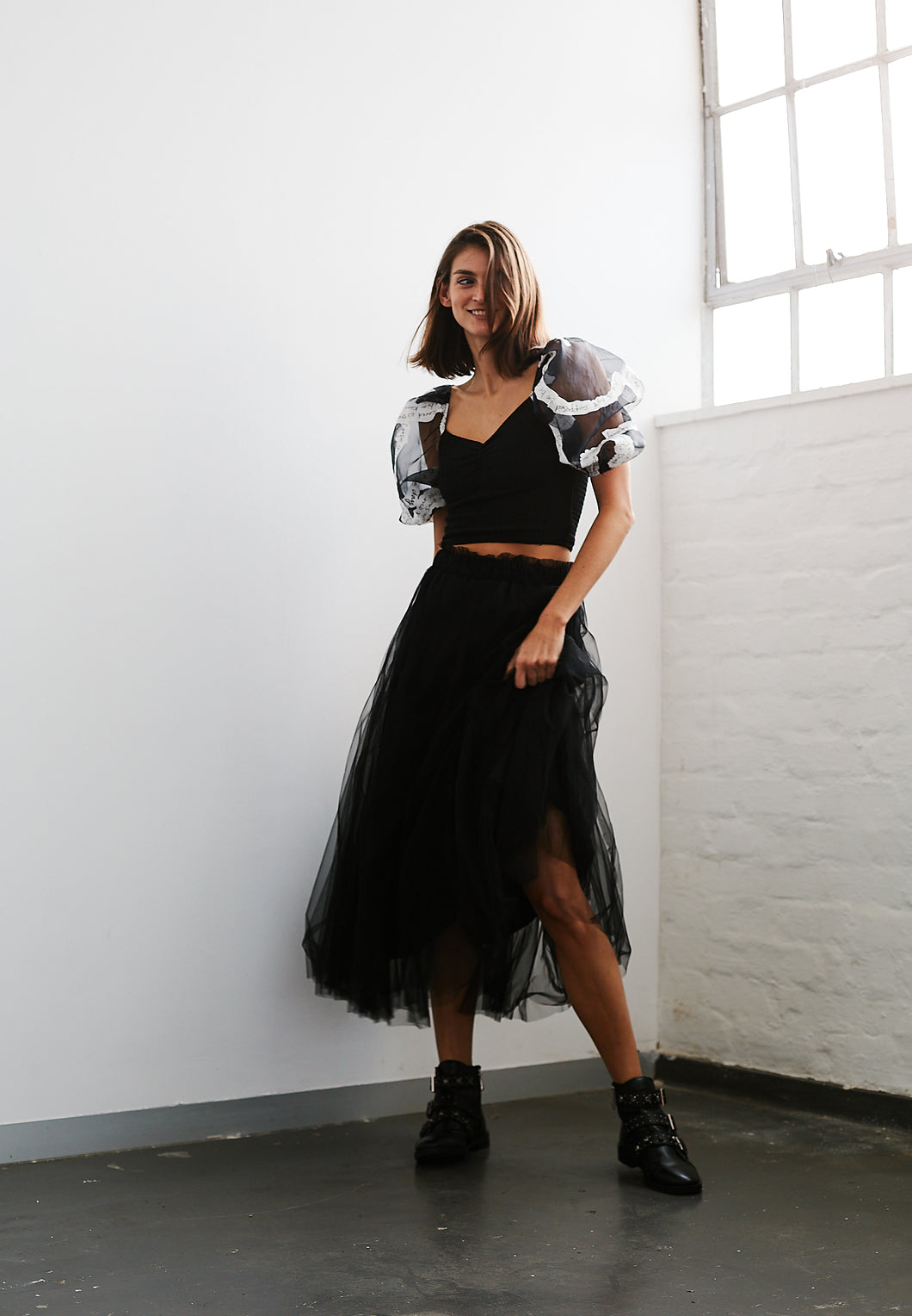 Black Tulle Layered Skirt