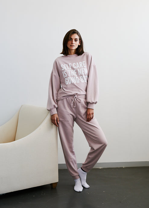 Dusty Pink Tapered Leg Track Pant
