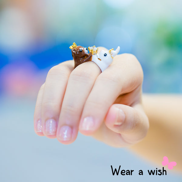 Bear & Rabbit Animal FreeSize Couple Ring