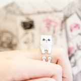Lovely HandPainting Persian Cat Adjustable Ring ( Gray & Black Stripe )