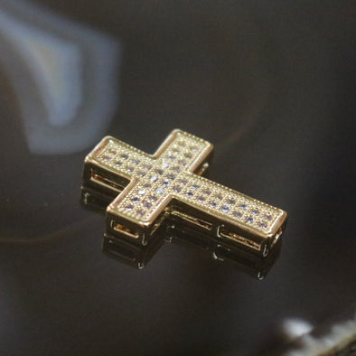 Gold Plated Copper Zirconia Cross
