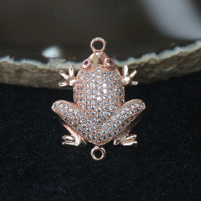 Rose Gold Plated Copper Zirconia Frog