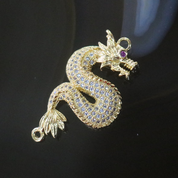 Gold Plated Copper Zirconia Dragon