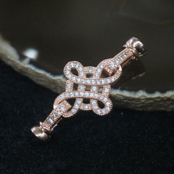 Rose Gold Plated Copper Zirconia Mystic Knot