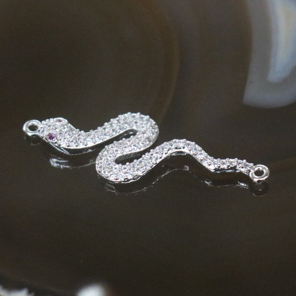 Sliver Plated Copper Zirconia Snake