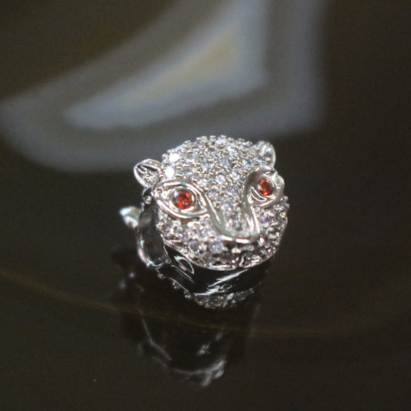 Sliver Plated Copper Zirconia Cheetah head