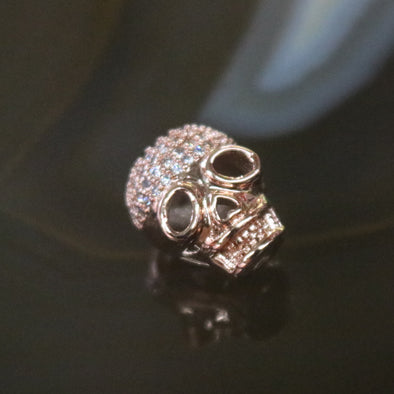 Rose Gold Plated Copper Zirconia Skull