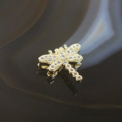 Gold Plated Copper Zirconia Dragonfly