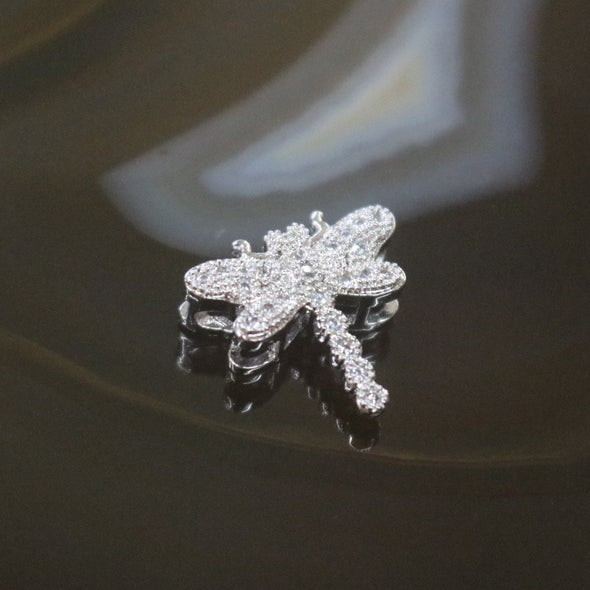 Sliver Plated Copper Zirconia Dragonfly
