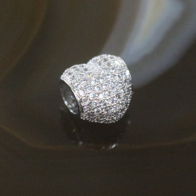 Sliver Plated Copper Zirconia Heart