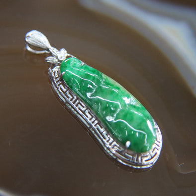Type A Burmese Jade Jadeite 18k White Gold with Diamonds Feng Shui Peapod Pendant