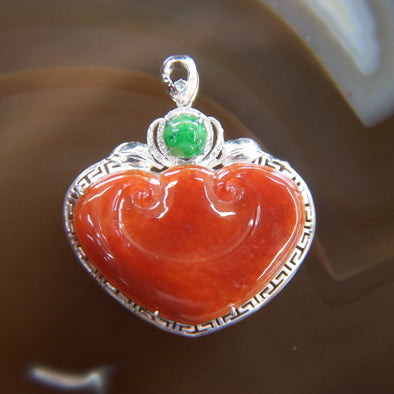 Type A Burmese Red Jade Jadeite 18k White Gold with Diamonds Ruyi Pendant - 4.05g L30.4 W27.6 D7.2mm