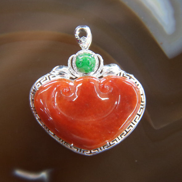 Type A Burmese Red Jade Jadeite 18k 750 White Gold with Diamonds Feng Shui Ruyi Pendant