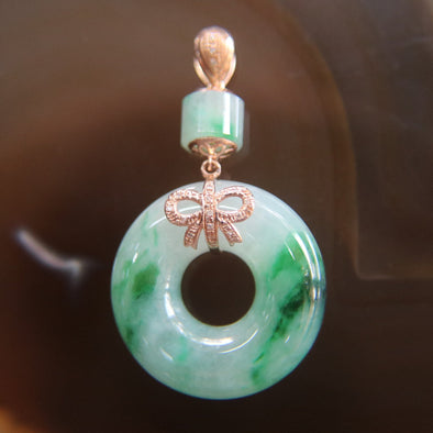 Type A Burmese Jade Jadeite 18k 750 Rose Gold with Diamonds Feng Shui Donut Pendant