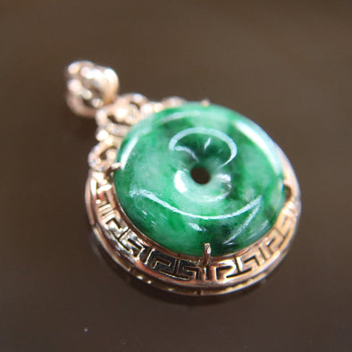 Type A Burmese Jade Jadeite 18k 750 Rose Gold with Diamonds Feng Shui Donut Pendant 19.0 by 19.0 by 6.0mm