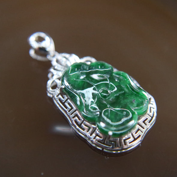 Type A Burmese Jade Jadeite 18k White Gold with Diamonds Lotus Leaf Pendant - 1.56g L24.4 W16.1 D4.8mm