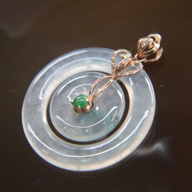 Type A Burmese Jade Jadeite 18k Rose Gold with Diamonds Icy Donut Pendant - 3.33g L23.8 W23.8 D4.4mm
