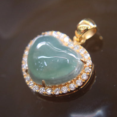 Type A Burmese Jade Jadeite Feng Shui 22k 916 Yellow Gold with Diamonds Heart Pendant