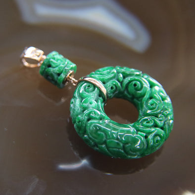 Type A Burmese Jade Jadeite 18k 750 Rose Gold Feng Shui Donut with Chinese Carvings Pendant 14.4g 29.6 by 29.6 by 9.9mm