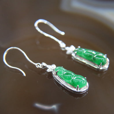 Type A Burmese Icy Jade Jadeite 18k Rose Gold with Diamonds Peapod Earrings - 3.25g