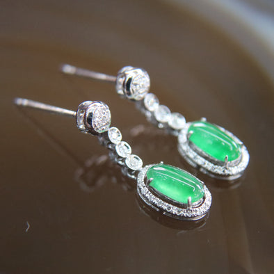 Type A Burmese Icy Jade Jadeite 18k White Gold with Diamonds earrings - 2.2g