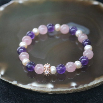 Love and Peace - Feng Shui Rose Quartz, Amethyst & Pearl Beads Bracelet