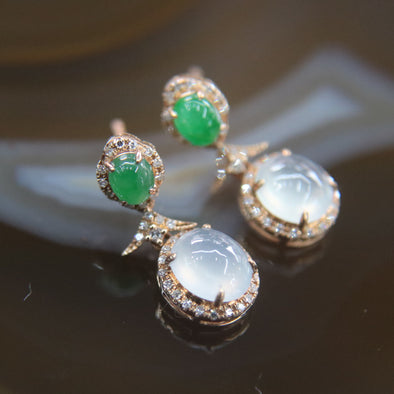 Type A Burmese Icy Jade Jadeite 18k Rose Gold with Diamonds Earrings - 3.52g
