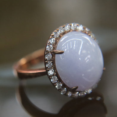 Type A Lavender Burmese Jade Jadeite ring in 18k Rose gold & natural diamonds - 7.28g US Size 7
