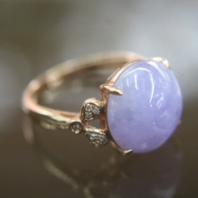 Type A Lavender Burmese Jade Jadeite ring in 18k Rose gold - 3.63g US Size 6